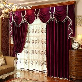 Conjunto de cortinas de terciopelo rojo para dormitorio de lujo de diseño europeo cortina de Valance para sala de estar bordado de tul