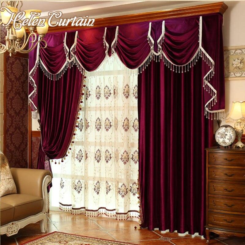 Conjunto de cortinas de terciopelo rojo para dormitorio de lujo de diseño europeo cortina de Valance para sala de estar bordado de tul 3x2,9 m cuerda cortina Flash línea brillante borla cuerdas puerta ventana Decorective divisor cortina purpurina cenefa decoración del hogar
