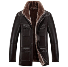 HOT 2015 new Winter brand casual plus size Men's leather clothing fur outerwear thicken warm leather jackets