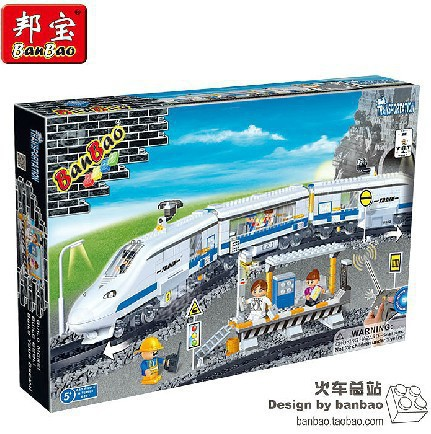 Banbao Model building kits compatible with lego city Train transport 977 3D blocks Educational toys hobbies for children lepin 02012 city deepwater exploration vessel 60095 building blocks policeman toys children compatible with lego gift kid sets