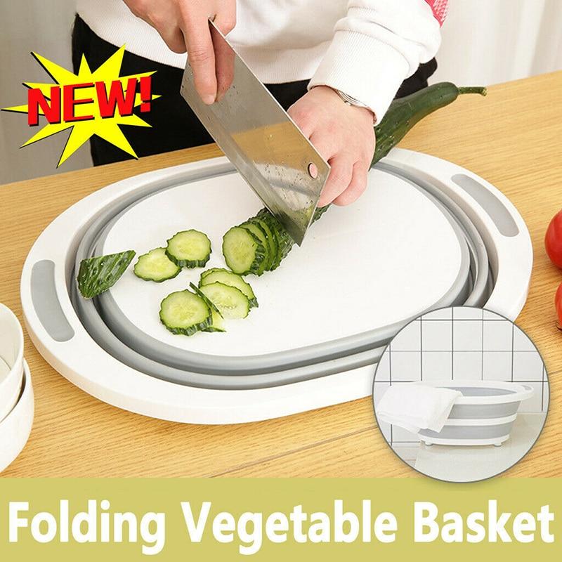 4 In 1 Collapsible Folding Chopping Cutting Board Dish Tub Fruit Vegetable Basket Washing Strainer Drying Rack Kitchen Stuff(China)