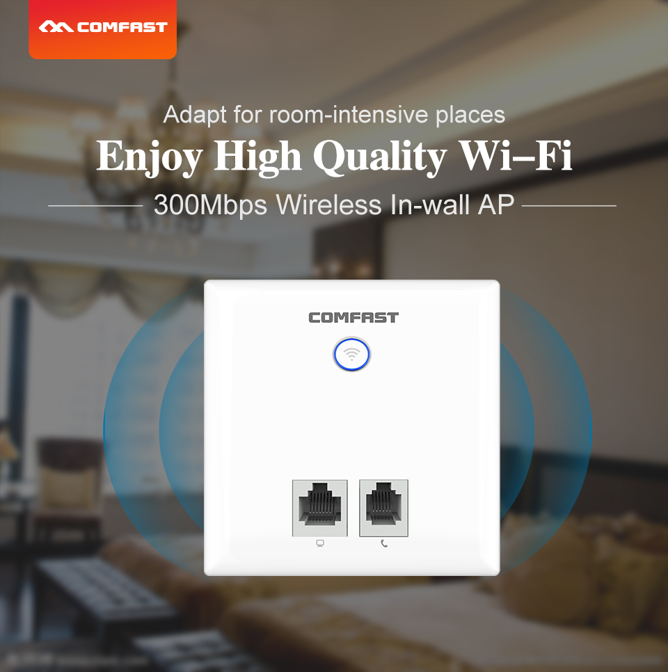 300m Cf-e533n-r Wireless Wifi 86 Panel Ap Wireless Poe Power Supply Household Walled Router Intelligent Home/hotel Indoor Wifi