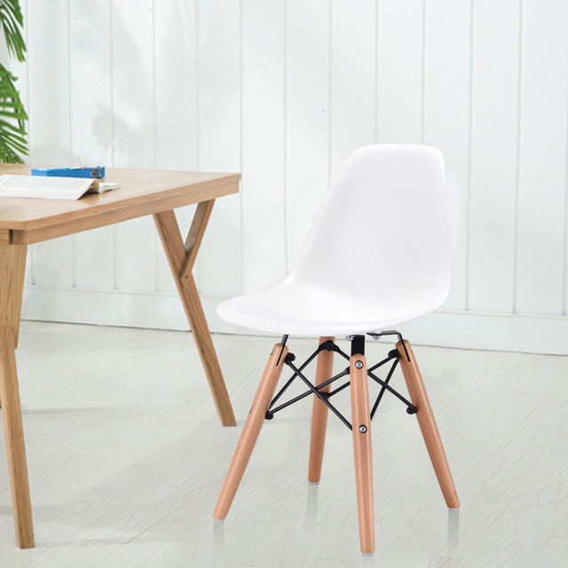 Giantex Kids Dining Side Armless Chair Modern Molded Plastic Seat Wood Legs White Children Chairs Home