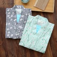 Japonés Yukata Kimono Pijamas de Las Mujeres Pantalones Cortos Conjuntos Batas Vestido de Niña de Algodón ropa de Dormir a Casa Albornoz Desgaste de Ocio de Estilo Suelto