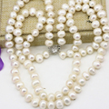 8-9mm natural white freshwater cultured pearl nearround beads necklace for women 2 rows chain gifts choker jewelry 18inch B3229