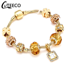 CUTEECO Crystal Lucky Charm Bracelets & Bangles High Quality Gold Beads Brand for Women Jewelry Pulseira Feminina