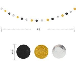 Image 4 - סיום עונה נצנצים זהב שחור כסף פנטגרם מטוטלת עגול נייר דגל מסיבת סיום קישוט ספקי