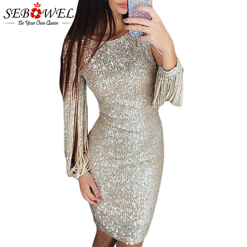 SEBOWEL Long Tassel Sleeve Glitter Bodycon Dresses for Woman Party Night Sequin Hollow Out Ladies Sexy