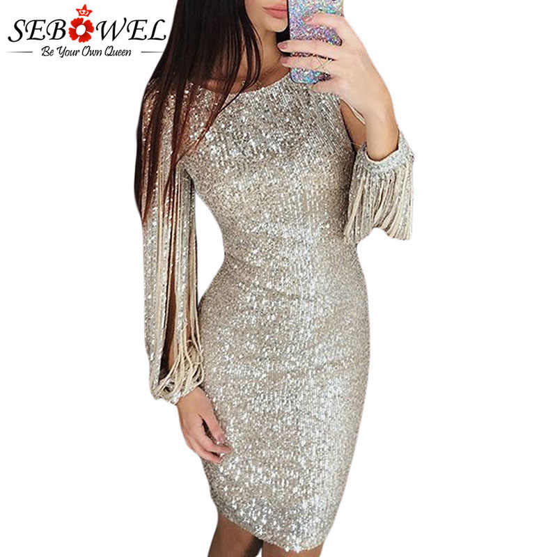 SEBOWEL Long Tassel Sleeve Glitter Bodycon Dresses for Woman Party Night  Sequin Hollow Out Ladies Sexy 9473fee0434f