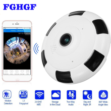 FGHGF HD 1080P WiFi IP Camera 360 Degree 2.0MP Fisheye Panoramic CCTV Camera Video Storage 64GB Remote IR-CUT Onvif Audio-in
