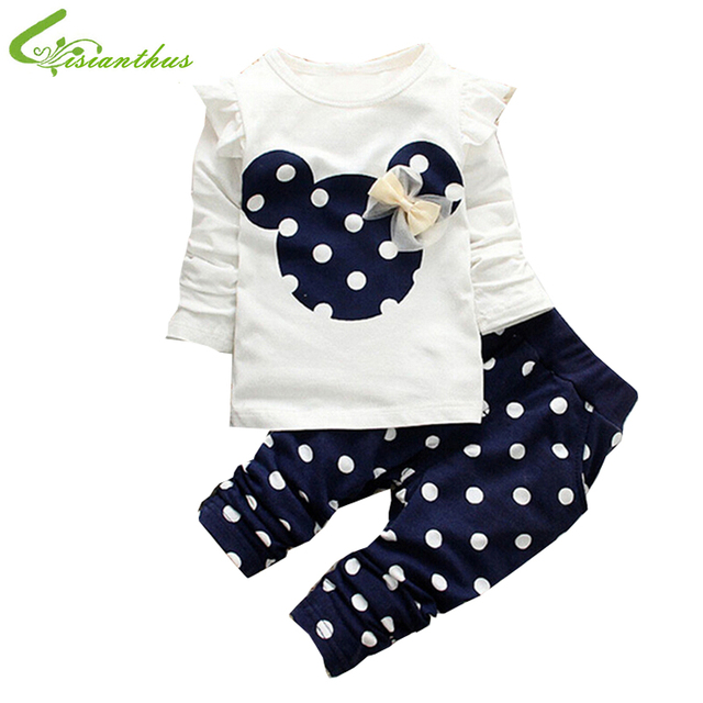 Baby Girls Clothing Set Long Sleeve Shirts Mickey Pattern Cute Cotton Dots Pants Little Girls Spring Autumn Cause Tees Trousers