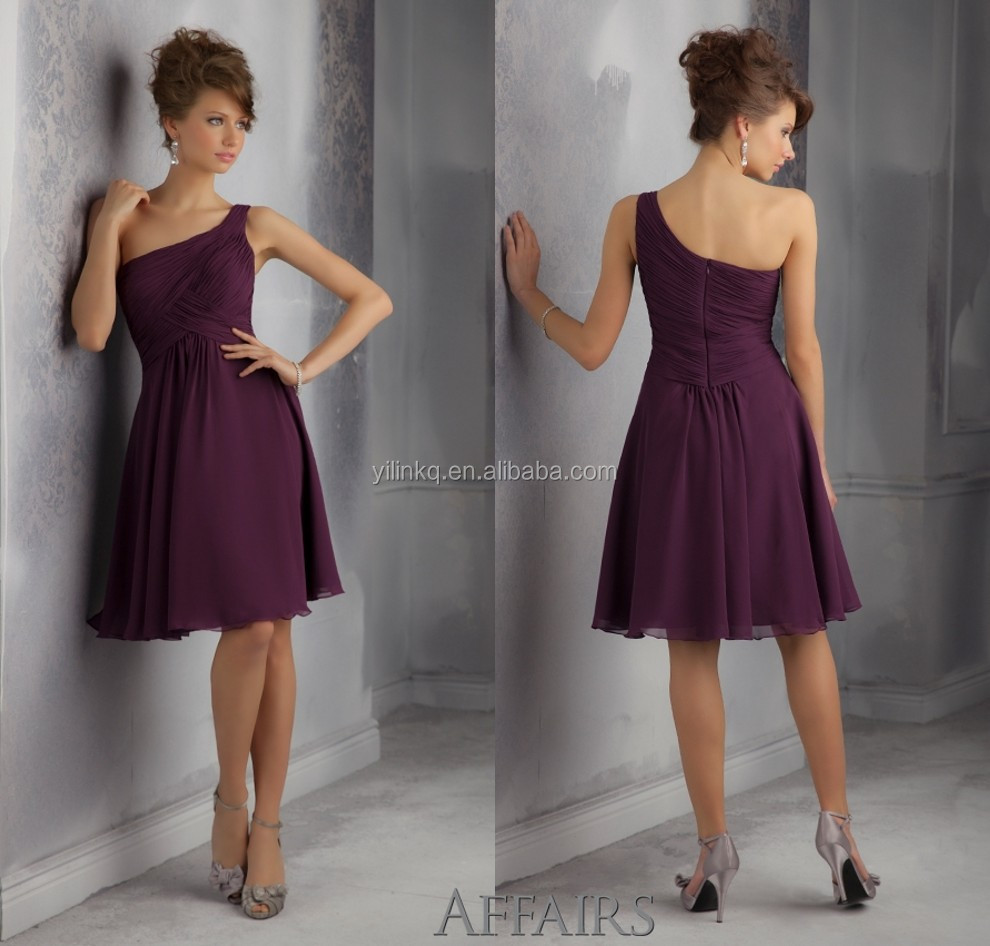 Dresses china picture more detailed picture about one shoulder one shoulder simple royal purple short cheap china made to order junior patterns for bridesmaid dresses ombrellifo Images