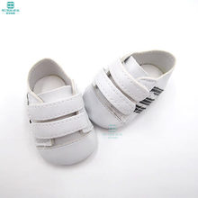 7cm Mini white Striped sneakers, casual shoes for 43 cm baby toy new born dolls and american doll accessories(China)