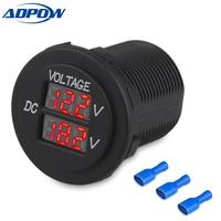 12V Car Boat Motorcycle LED Digital Dual Voltmeter AUX Main Voltage Gauge Battery Monitor Panel Auto Round Voltmeter Tester Volt Meters    -