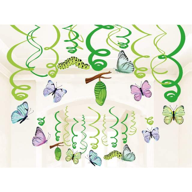 Happy Birthday Party Decoration Butterfly Hanging Swirls Ceiling Pvc Spiral Spring Theme Baby Shower Party Favors Supplies Xl079