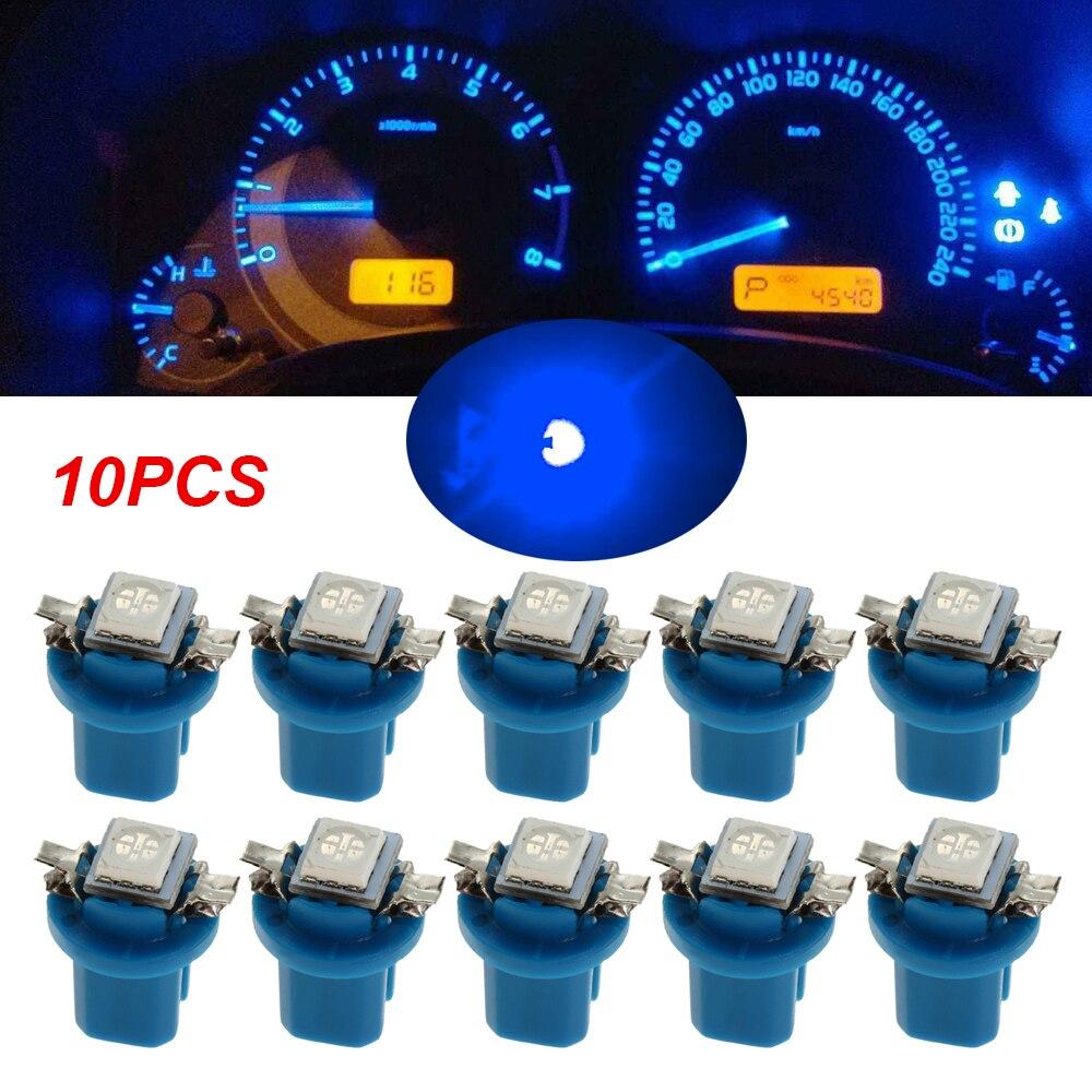 6/10pcs T5 B8.5D 5050 1SMD LED 12V Dashboard Blue Dash Gauge Speed Meter Interior Instrument Light Bulbs ModificationAccessory