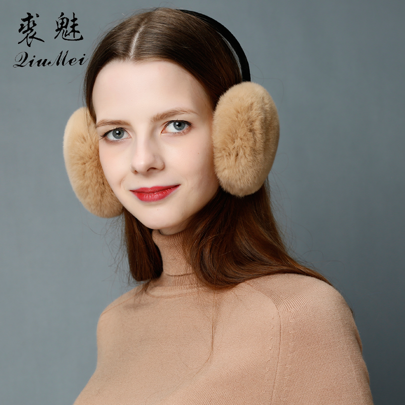 Fashion Real Rabbit Fur Women Earmuffs Pink Comfortable Warm Ear Muffs Ear Warmers For Girls Adjustable Winter Ear Protector