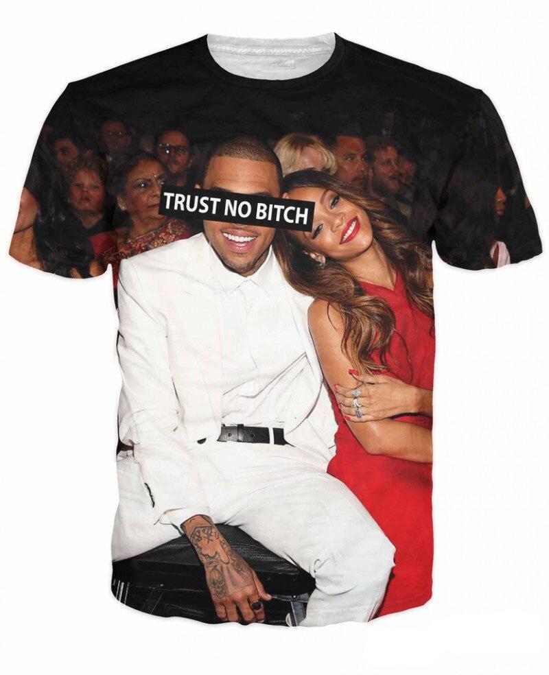 buy online 17c2d 8d6ca US $10.2 35% OFF|Unisex Women Men 3D Trust No Bitch Chris Brown T Shirt  Breezy and Rihanna Print Robyn Rihanna Fenty T Shirts Summer Tee Tops-in ...
