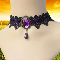 Wholesale Korean fashion lace necklace accessories sapphire amethyst pendants wedding party ornaments