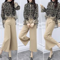 Stylish Print 2 Piece Set Women Wide Leg Trousers Suit Set Conjunto Feminino Pantalon Taille Haute Femme Year old Female Costume