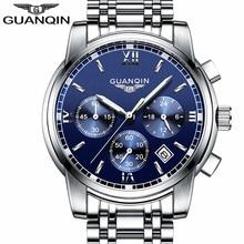 GUANQIN Relogio Masculinoผู้ชายนาฬิกาผู้ชายแบรนด์หรูQuartzนาฬิกาผู้ชาย19018นาฬิกาสแตนเลสสตีลนาฬิกาข้อมือA