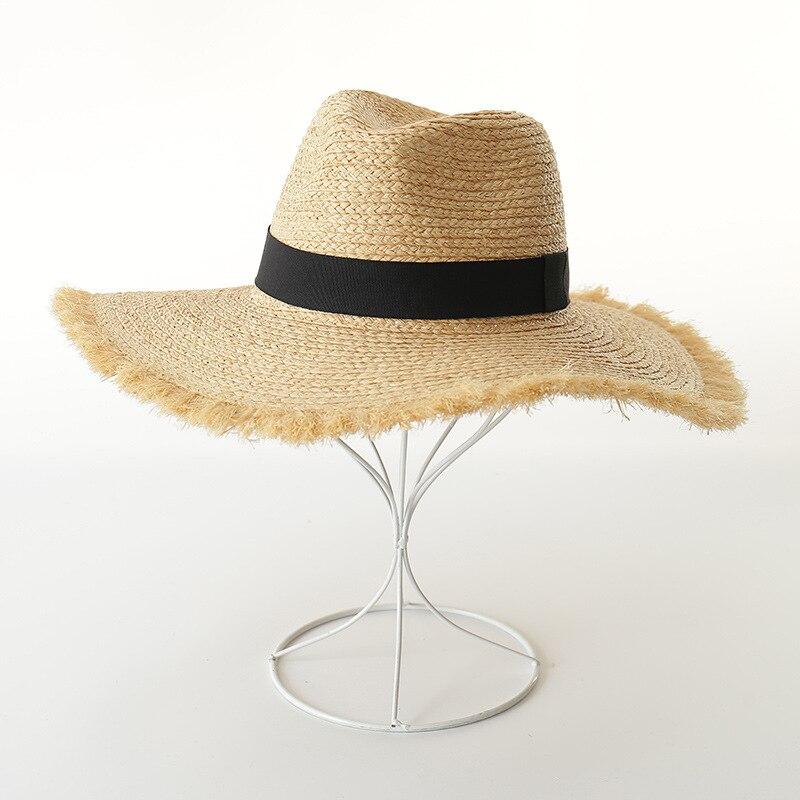 2019 nouveau ultra-compact poilu raphia jazz chapeau en plein air plage voyage bordure rafia visière soleil chapeaux pour femmes été chapeau panama chapeau