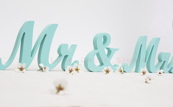 Mr and Mrs wooden sign wedding letters painted DIY custom colors sweetheart decor gift idea- Wedding Table Decoration 10cm