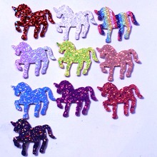 1PCS/lot Embroideried Sequin Unicorn Bow With Alligator Clips Princess Hair Accessories Girls Hairpins Barrette