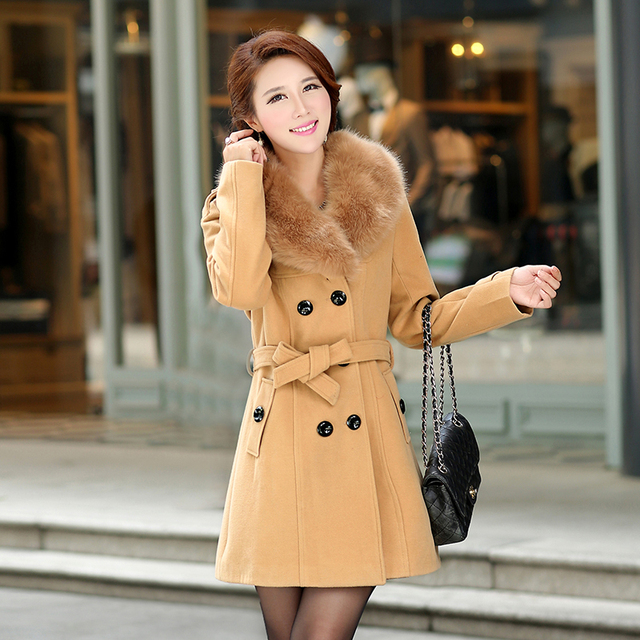 2017 Autumn And Winter Fur Collar Woolen Outerwear Female Trench Medium-long Slim Waist Thickening Overcoat