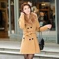 2017 Outono E Inverno Pele Gola de Lã Outerwear Fêmea Trincheira de Médio-longo Cintura Fina Espessamento Sobretudo