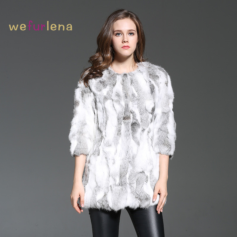 Welfurlena Rushed Direct Selling Medium O-neck 2017 Women Rabbit Fur Coat 100% Real Genuine Jacket Style Winter Fashion Natural
