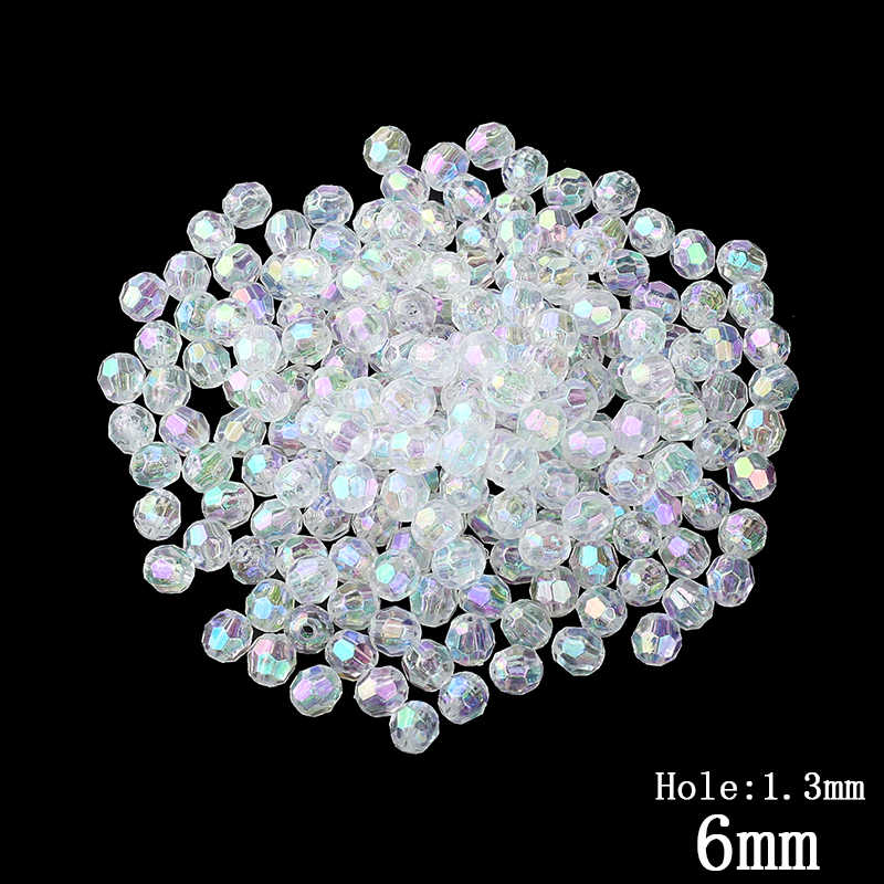200pcs Lot 6MM Transparent Color Cut Faceted Plastic Beads DIY Jewelry  Making Wholesale Decorations Small 7f668e4db44d