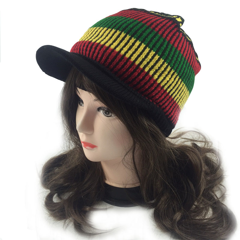 Casual Rasta Visor knit Hat knitted Beanie Skull cap ladies Striped Jamaica  Reggae knitted winter rainbow hats for lady women -in Skullies   Beanies  from ... b6c8338ad26