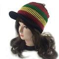 Casual Rasta Visor knit Hat knitted Beanie Skull cap ladies Striped Jamaica Reggae knitted winter rainbow  hats for lady women
