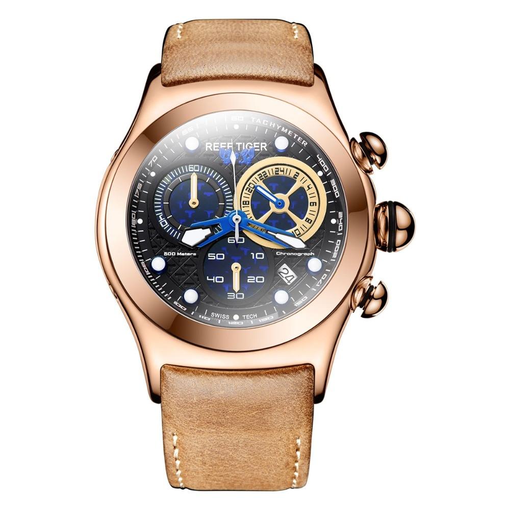 Reef Tiger/RT Men's Sport Watches Chronograph Date Luminous Skeleton Quartz Rose Gold Watches RGA782