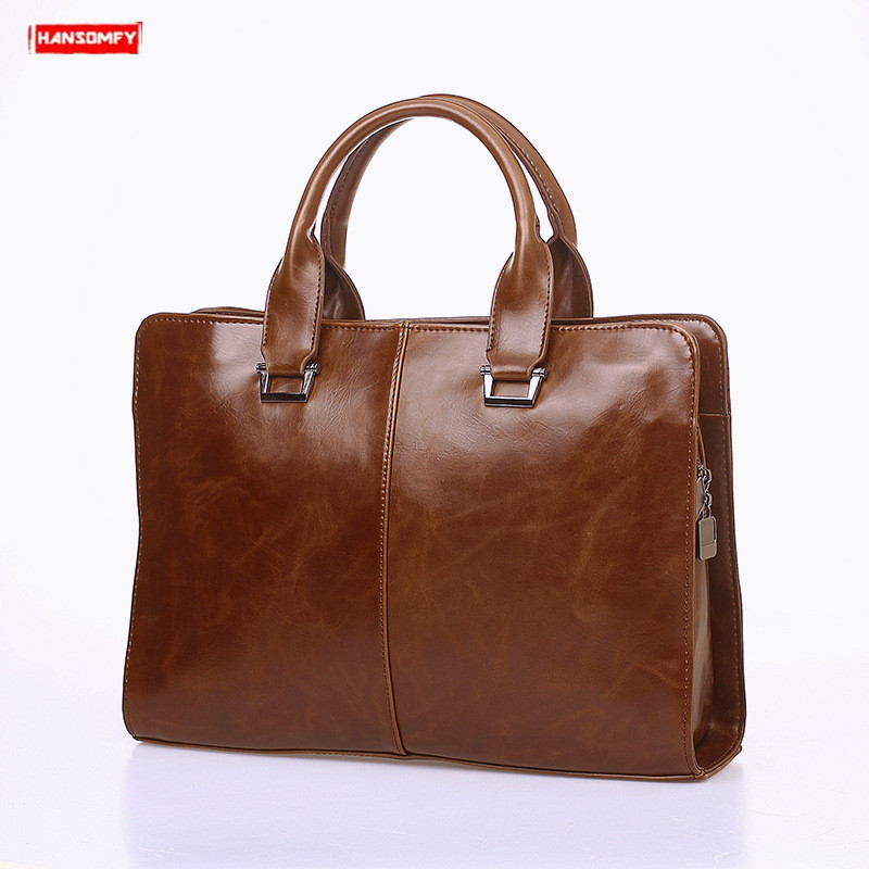 New Men's Handbag Cross Section Men Shoulder Slung Bag Business Computer Briefcase Retro Tide Laptop Messenger Bag