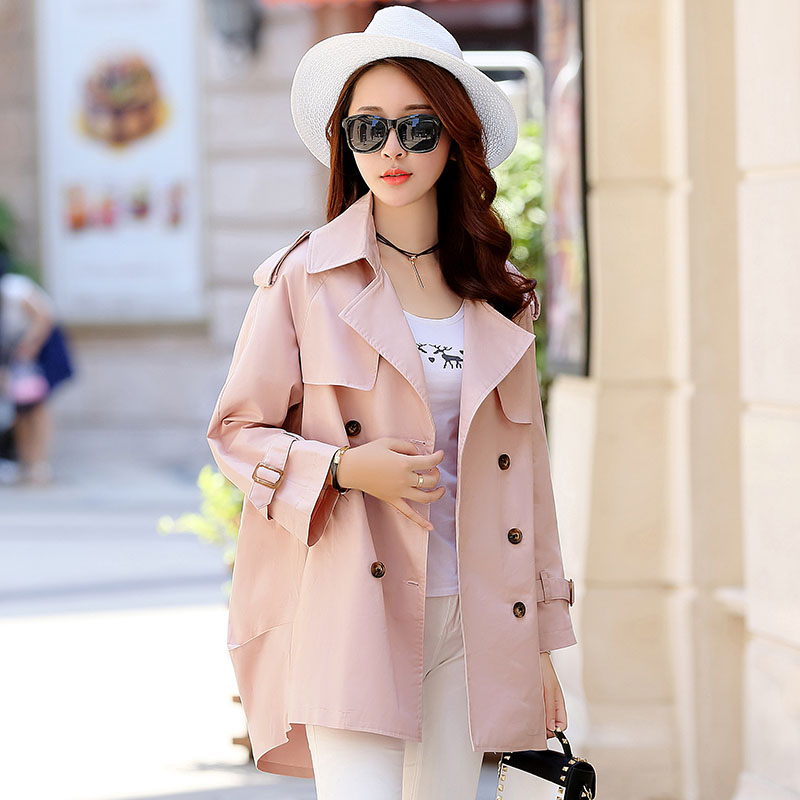 Manteau Survêtement De Couleur Tgh79 Breasted Solide Femmes Double Style Femme Casual Mode Tranchée Printemps pink blue Lady Khaki Automne Lâche Bureau Nouvelle 4TwnqCpF