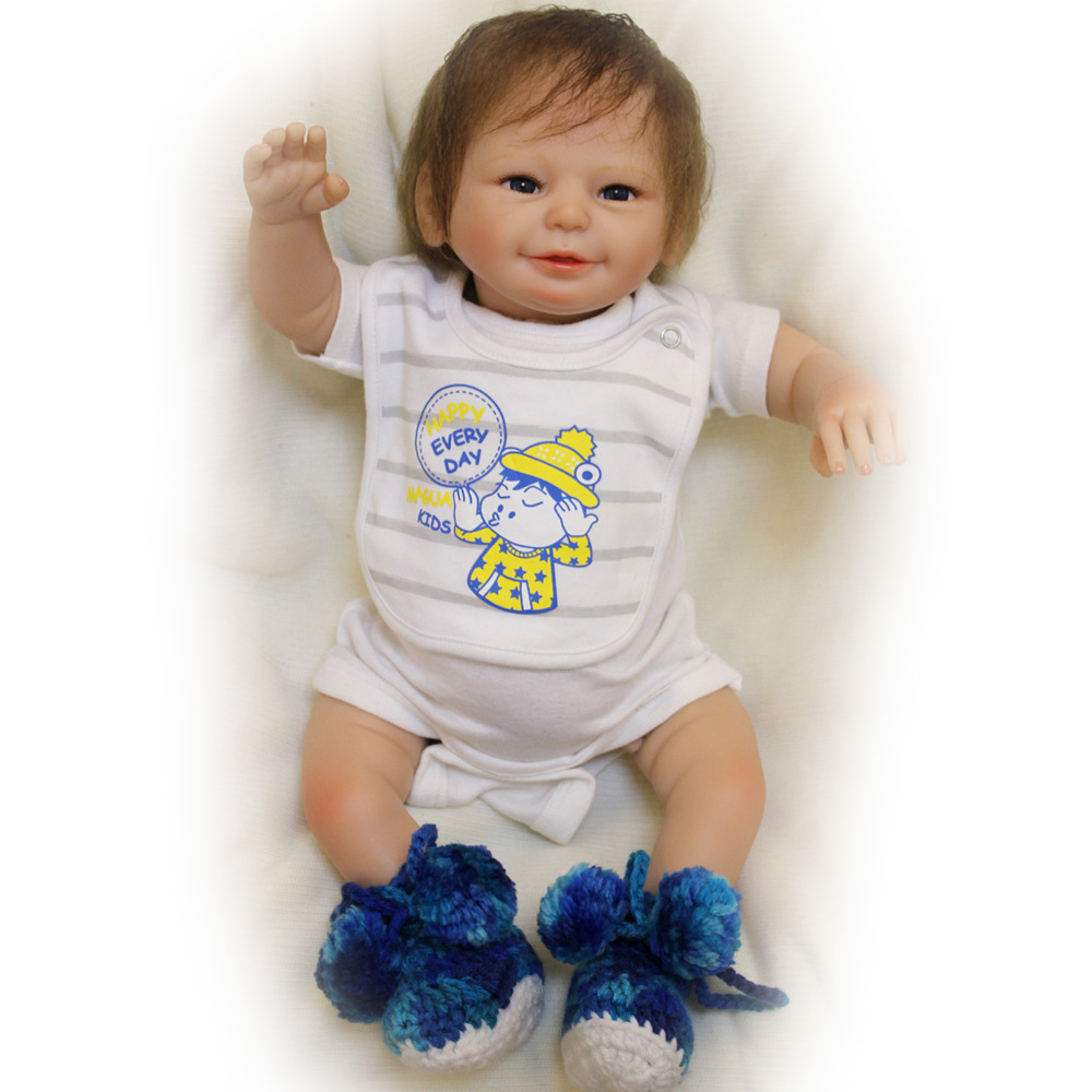 50-55CM Silicone Doll Reborn Baby Boy Lovely Handmade Cloth Body open Eyes Dolls Toys Growth Partners Brinquedos Best  Gift partners lp cd