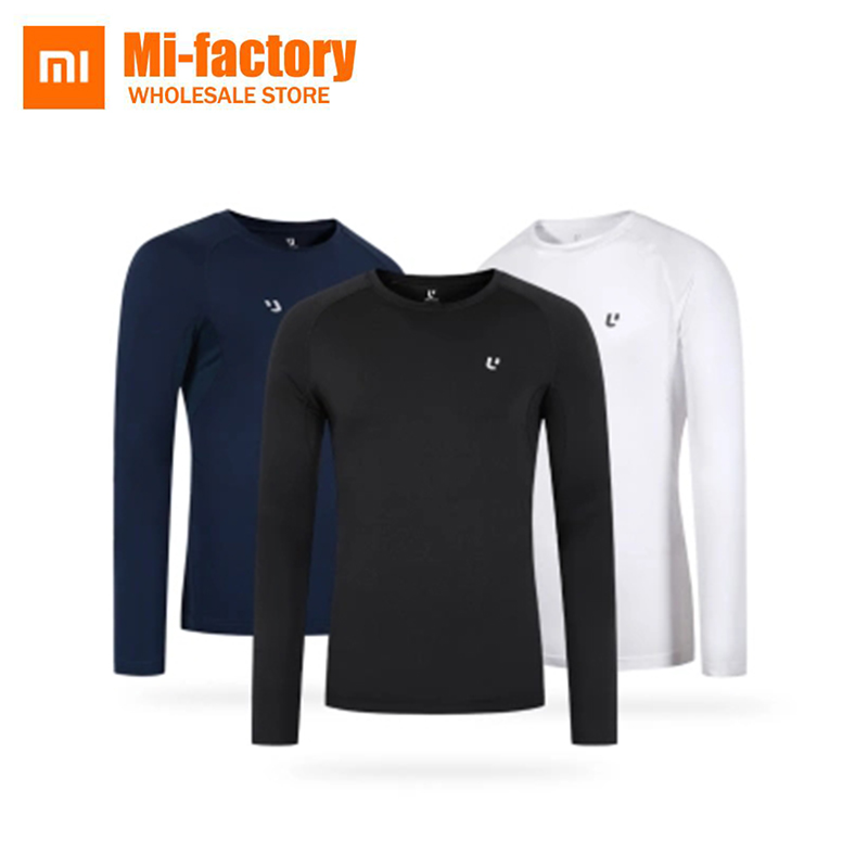 New Xiaomi ULEEMARK Breathable and comfortable long sleeves O-Neck Slim Fit Long Sleeve T Shirt Men Trend Casual Mens T-Shirt classic plaid pattern shirt collar long sleeves slimming colorful shirt for men