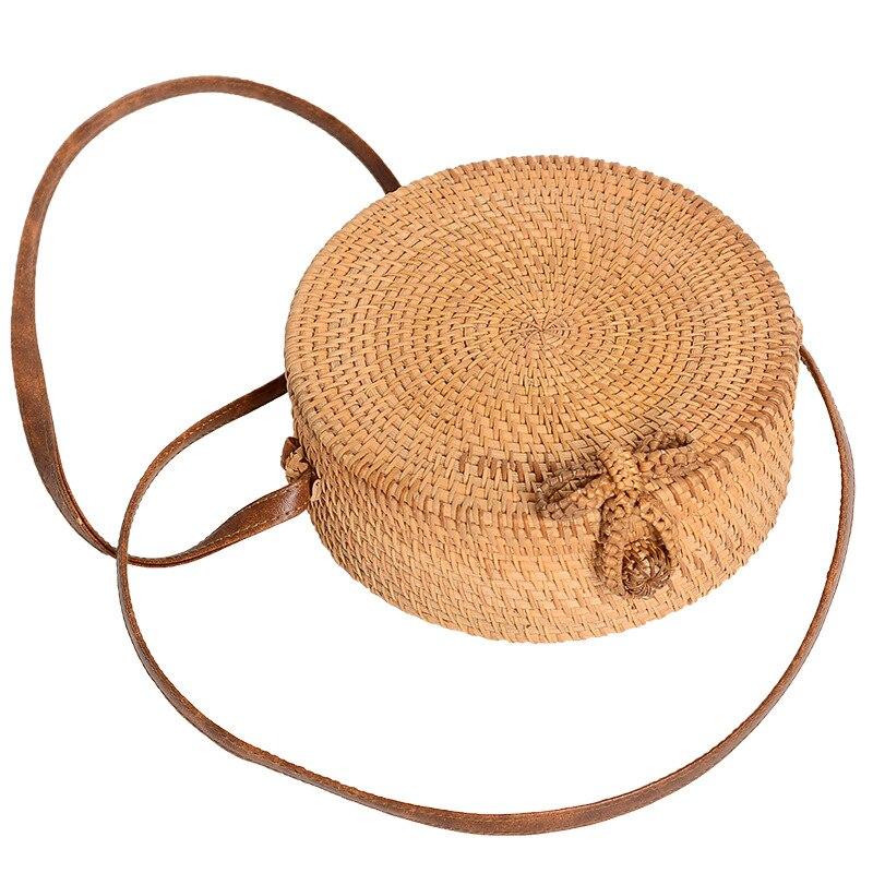 Women Cross Body Bag Round Circular Rattan Straw Woven Beach Basket Purse Cosmetic Bag