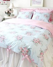 Cute blue princess bedding sets girl,4 pc design fairyfair home textile twin full king queen cotton coverlets pillow quilt cover