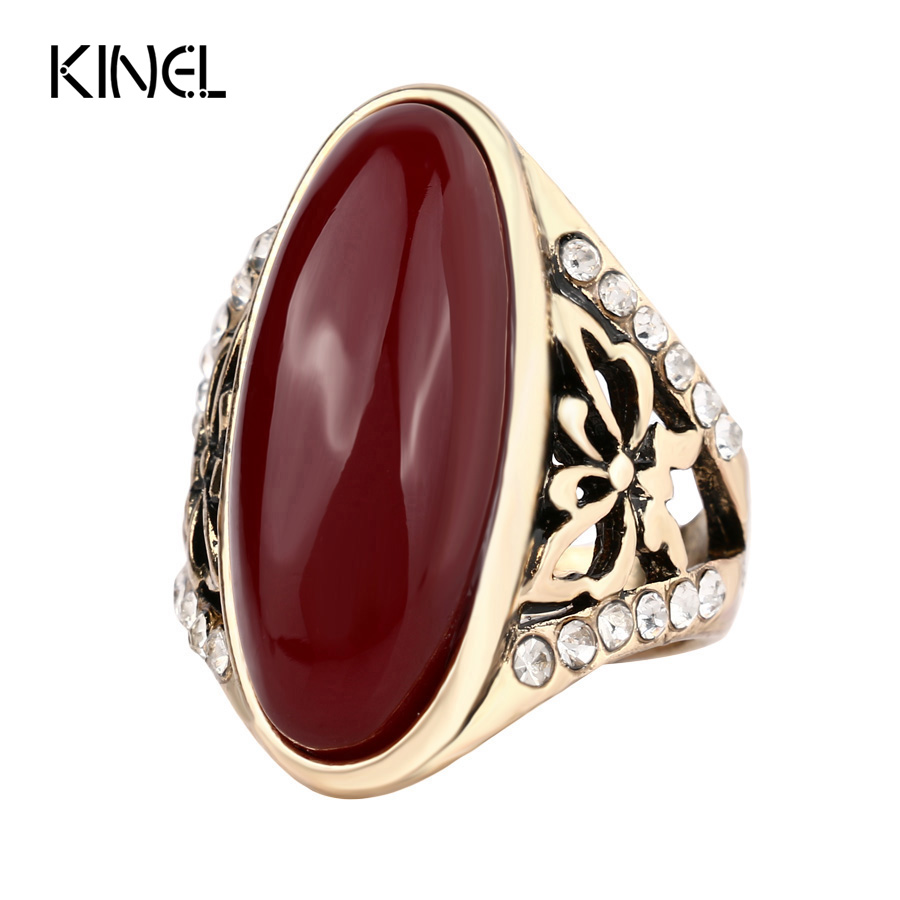 2017 fashion gold color rings for women unique oval Vintage style fashion rings