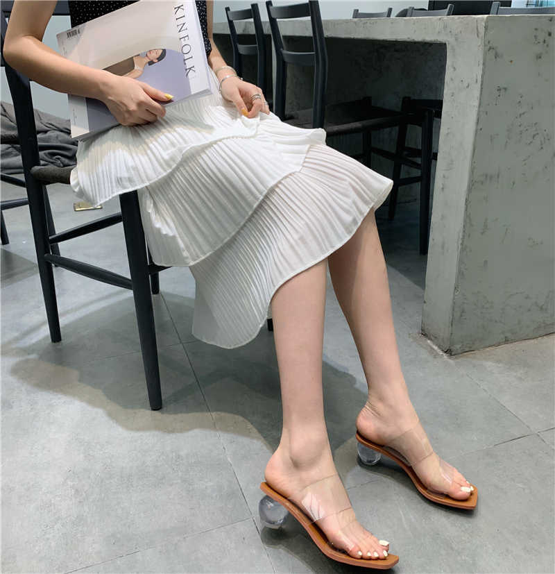 HTUUA 2019 Transparent Round Ball Heel Slippers Women Sandals Clear PVC Square Toe High Heels Sandals Ladies Summer Shoes SX2775