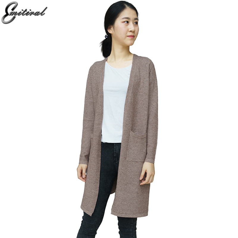 2017 Winter Autumn Casual Long Knitted Cardigan Women Wool Loose Solid Color Design Sweater Jacket Kahaki Pockets