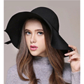 2016 (7 colors) Quality Wool Fashion winter Fedoras Hats For Women Ladies Sexy Crop Floppy Wide-Brimmed Felt Fur Caps Sun Summer
