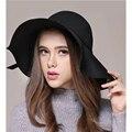 2016 (7 cores) qualidade Fedoras Lã Moda inverno Chapéus Para Mulheres Senhoras Sexy Colheita Floppy Grande-Pele De Abas Largas Sentiu Tampas chapéu de Sol de Verão