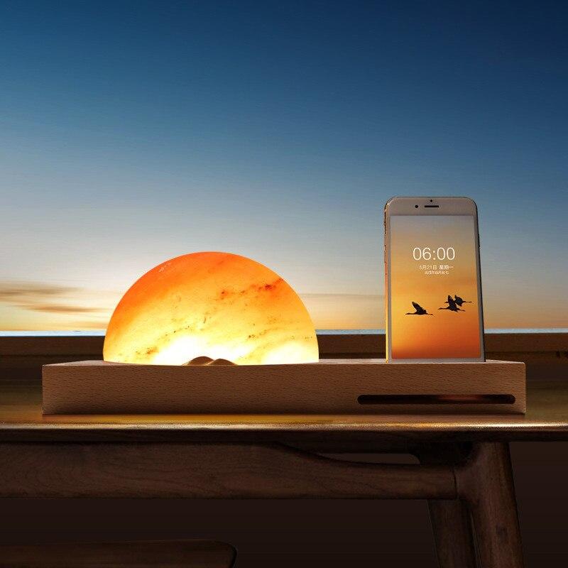 HZFCEW tactile gradation lever du soleil LED cadeau veilleuse lampe de sel de l'himalaya avec téléphone portable sans fil charge Base en bois massif FR252