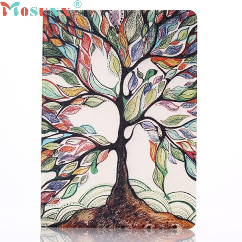 TOP QUALITY For iPad 6 Air 2 Tree Of Life Painted Leather Stand Flip Case Cover Fashionable and vintage style MAR 25