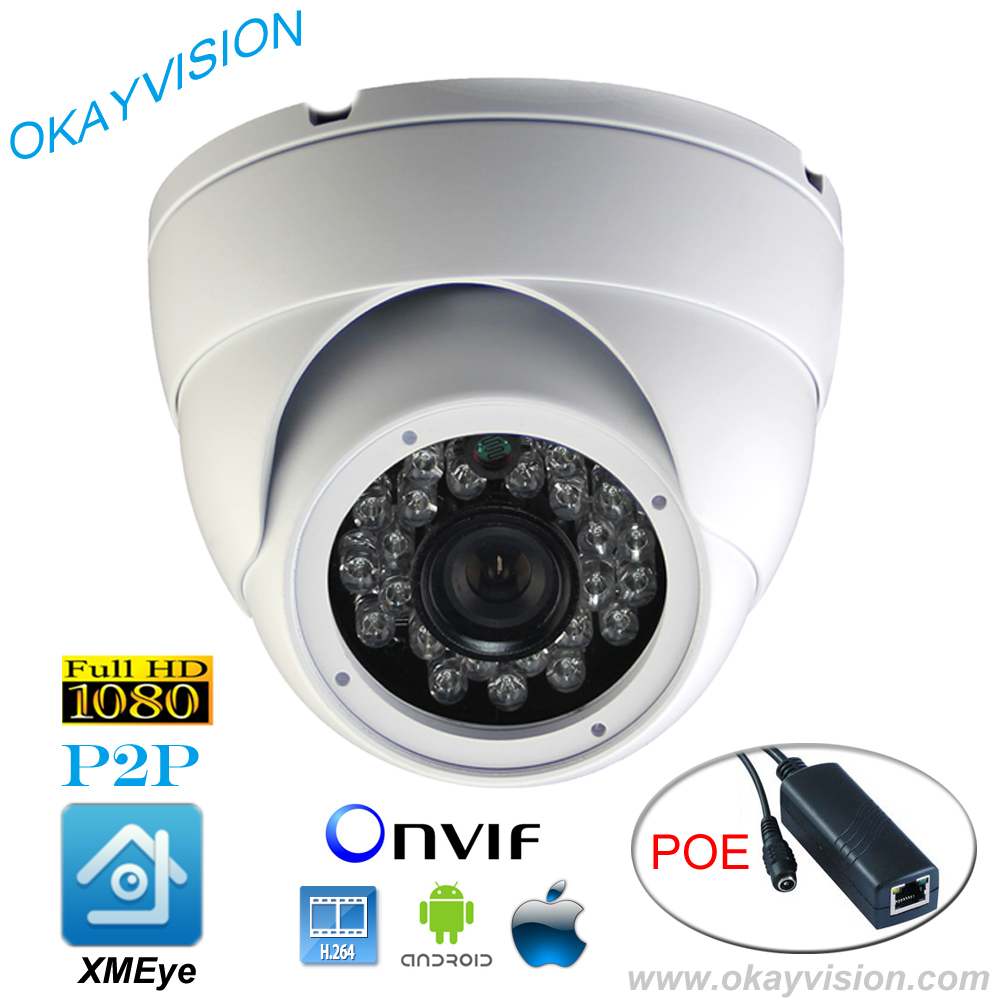 ONVIF 2MP CMOS IR CUT H 264 2MP Full HD 1080P HD IP P2P DC48V POE