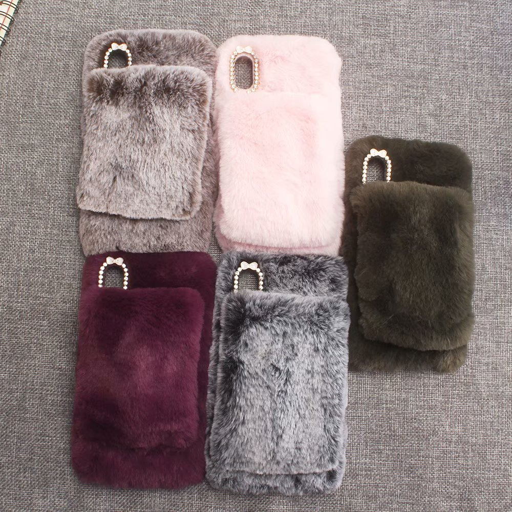 KIP61432_7_For iPhone 7 8 Hairy Warm Winter Bling Rhinestone Plush Phone Cover for iPhone XS XR 5S SE 6S 7P 8 Plus Hand Warmer Soft Case